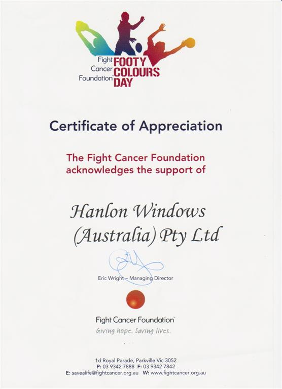 Fight Cancer Foundation Cert. Appreciation